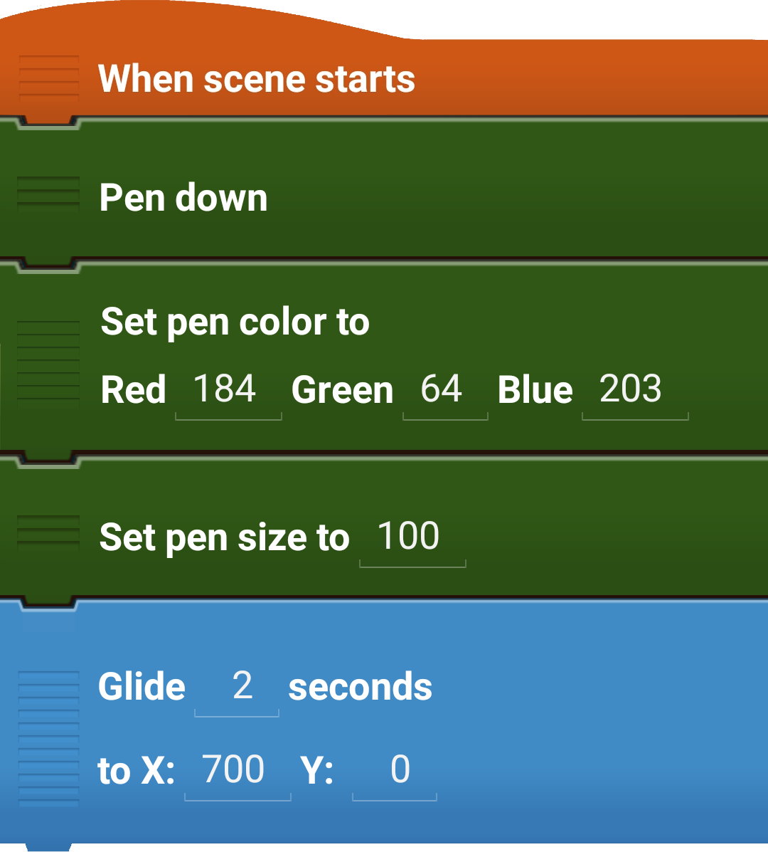 Set pen color to Example